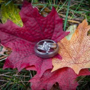 Fall leaves and wedding rings