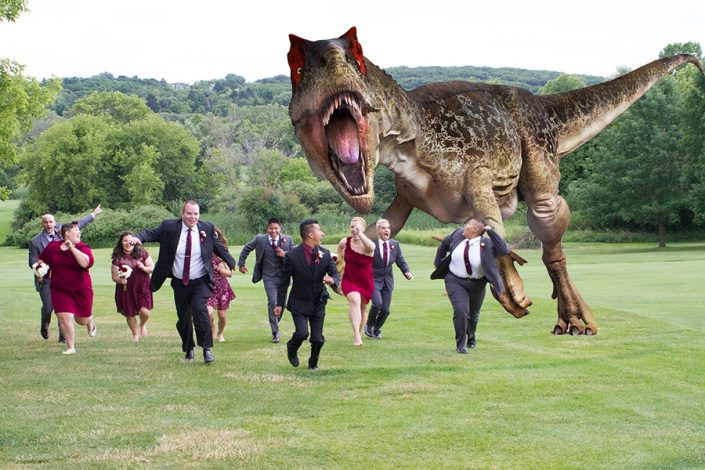 Wedding Party Being Chased by Dinosaur